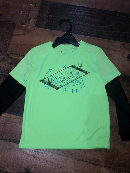 under armor green shirt with football field