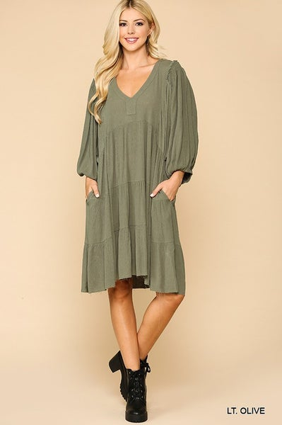 Textured Smocking Puff Sleeve Pocket Dress