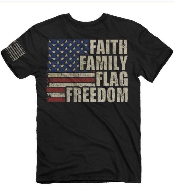 FAITH FAMILY FLAG FREEDOM tshirt