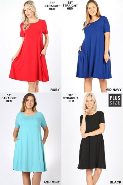 ZENANA SHORT SLEEVE PIKO STYLE SWING DRESS WITH POCKETS