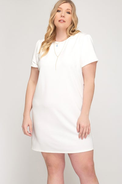 SHE & SKY WHITE BASIC DRESS