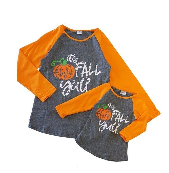 It's fall yall raglan shirt mom & me (Kids sizes)