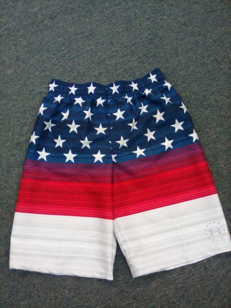 Boy's American Flag Under Armor Swim Shorts