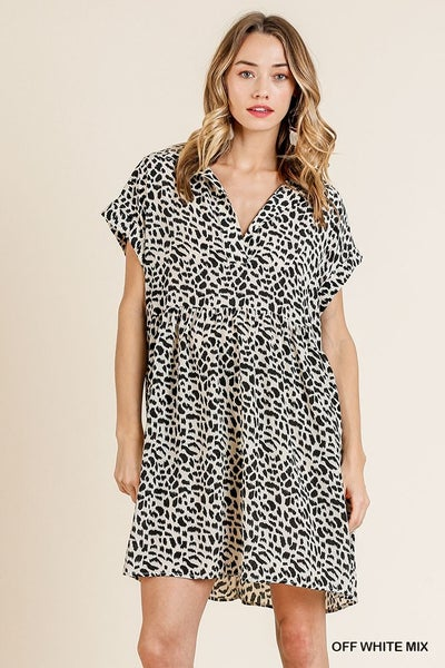 Animal Print V-Neck Collared Dress