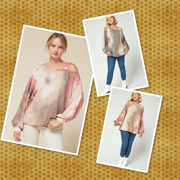 Tie-dye print long sleeve top featuring one cold-shoulder