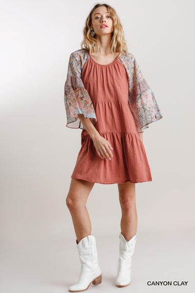 UMGEE FLORAL PRINT MIXED BELL SLEEVE TIERED DRESS