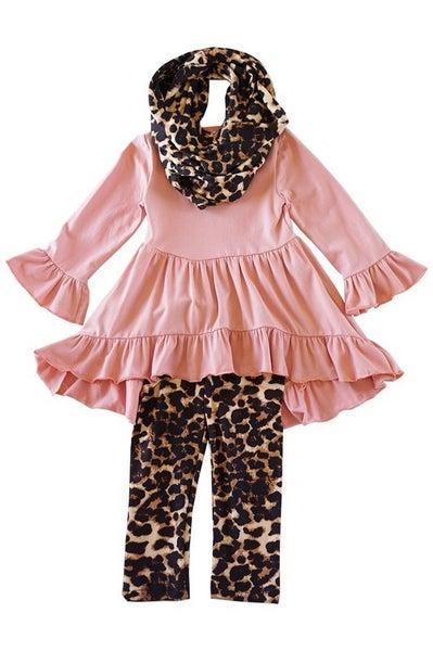 Mauve leopard 3 pieces girls scarf set