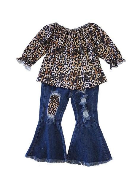 Leopard & distressed bell denim jeans set