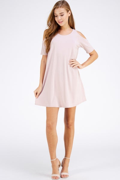 MAUVE COLD SHOULDER SWING DRESS