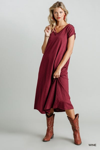 vneck maxi dress with pockets