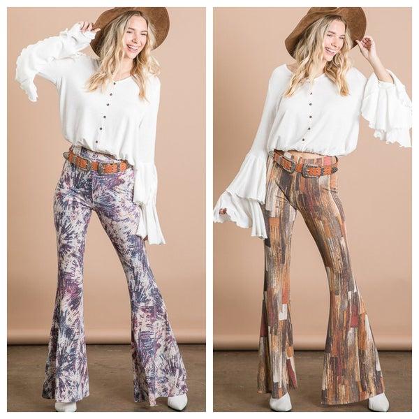 Soft Women's Jersey multi Print Flare Pants