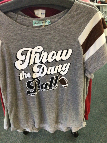 SOUTHERN GRACE GREY WITH GLITTER SHORT SLEEVE THROW THE DANG BALL SHIRT