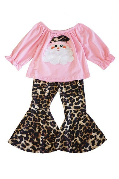 Pink santa applique tunic with leopard bell pants set