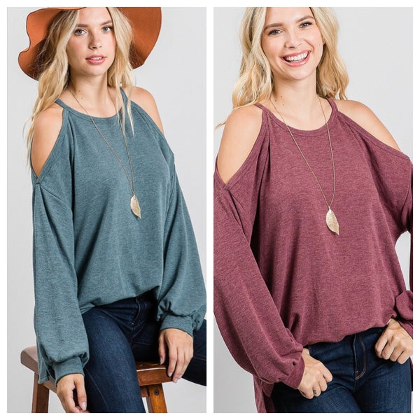 Cold shoulder bubble sleeve top