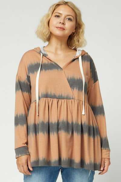 Tie-dye print surplice hooded pullover sweater