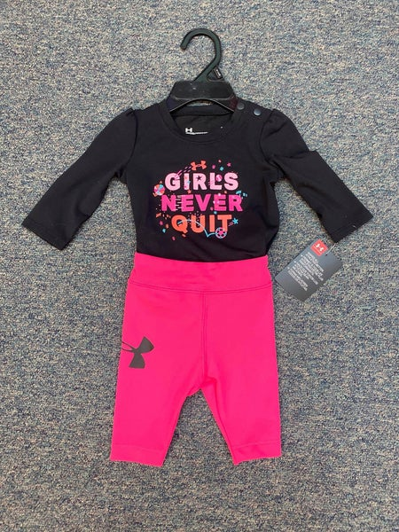 """girls never quit"" under armor onesie"
