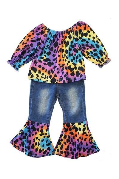 Leopard rainbow tie dye jeans bell pants set