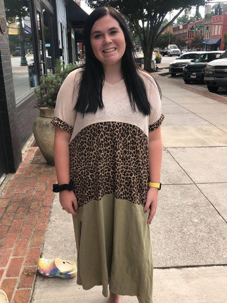 animal print colorblock short sleeve maxi