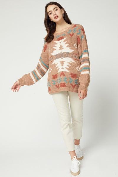 Aztec print pullover sweater