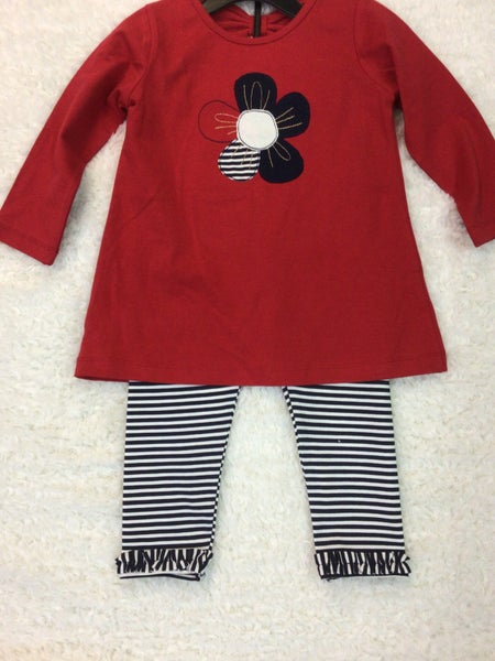 GIRLS RED TUNIC WITH APPLIQUE FLOWER