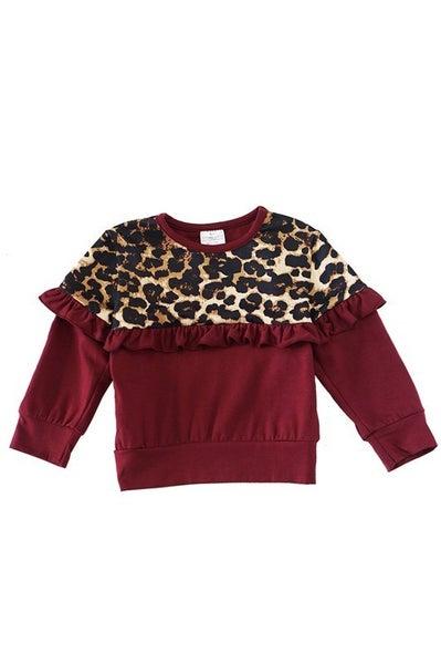Maroon leopard ruffle top