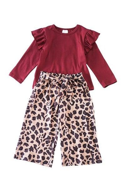 Maroon leopard wide pants set