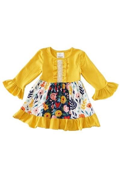 Mustard floral ruffle dress