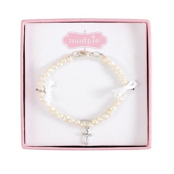 Fresh Water pearl bracelet  SS cross