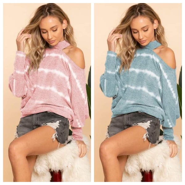 TIE DYED TOP WITH ONE COLD SHOULDER