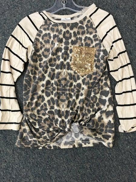 stripe leopard sequin pocket tie front top