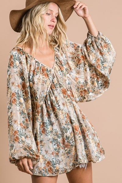 MULTI FLORAL LONG SLEVVE VNECK BLOUSE