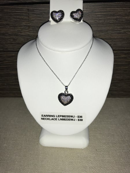 CZIRE CZ AND BLACK HEART NECKLACE OR EARRINGS (PRICED SEPARATELY)
