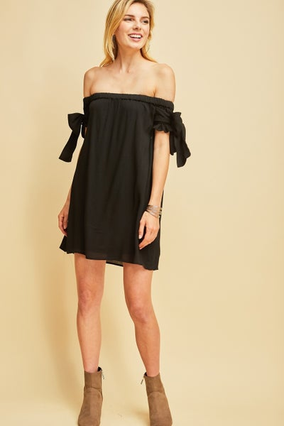 Black Solid off-shoulder dress featuring ribbon tie detail on sleeves