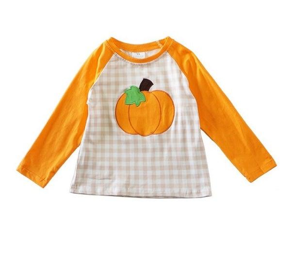 Pumpkin applique boy shirt
