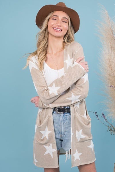 STAR PRINTED CARDIGAN WITH POCKETS