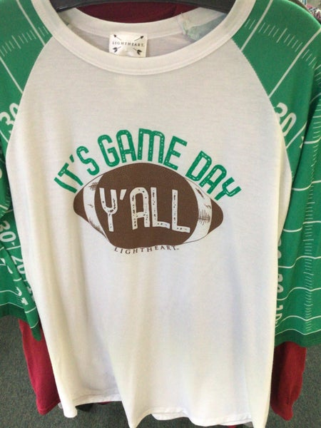 LIGHT HEART WHITE WITH GREEN LONG SLEEVE IT'S GAME DAY Y'ALL SHIRT
