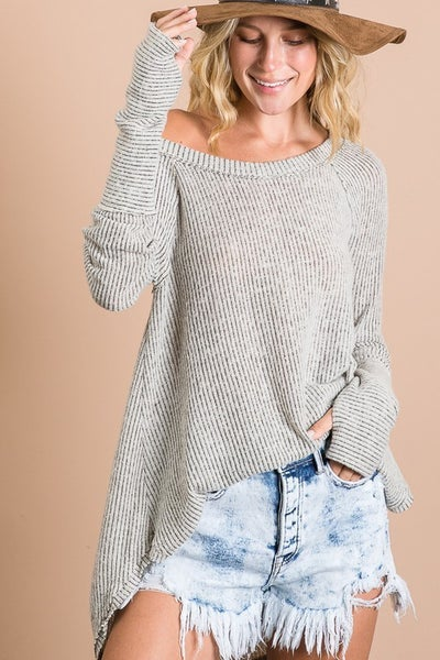 SOFT BRUSHED TWO TONE RIBBED TUNIC