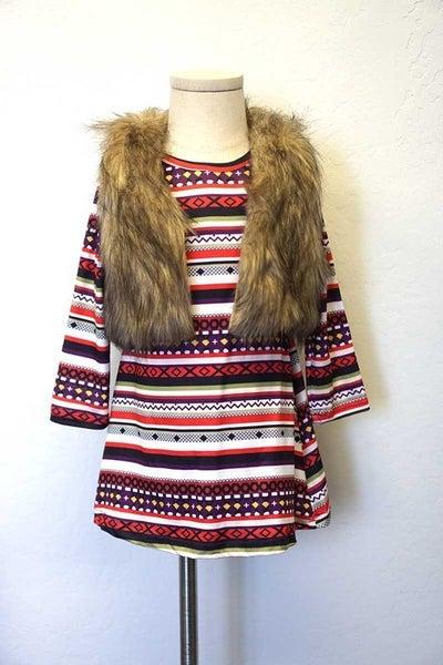 Maroon stripe dress with fur vest set
