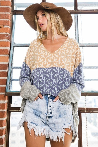 Soft Brushed Women's Color Block Geo Pattern Top