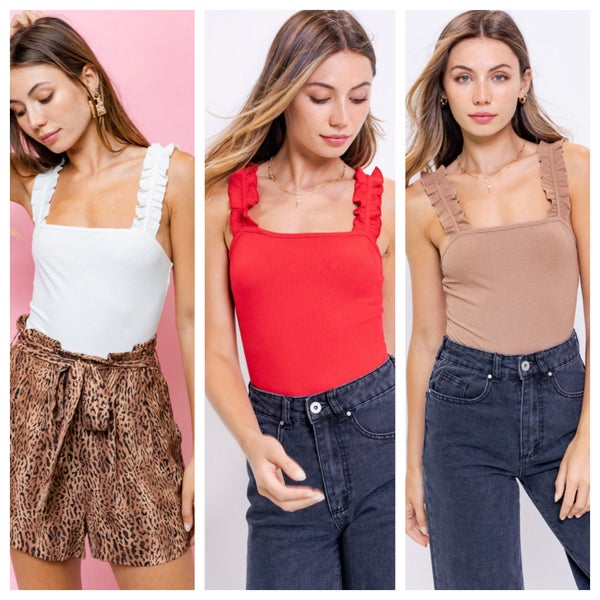 solid body suits with ruffle straps