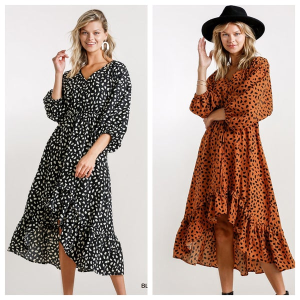 DALMATIAN PRINT HIGH LOW MIDI DRESS