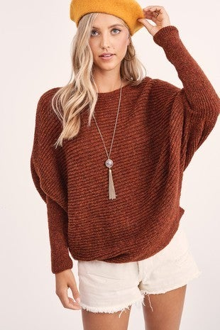 RUST SWEATER WITH FITTED SLEEVE