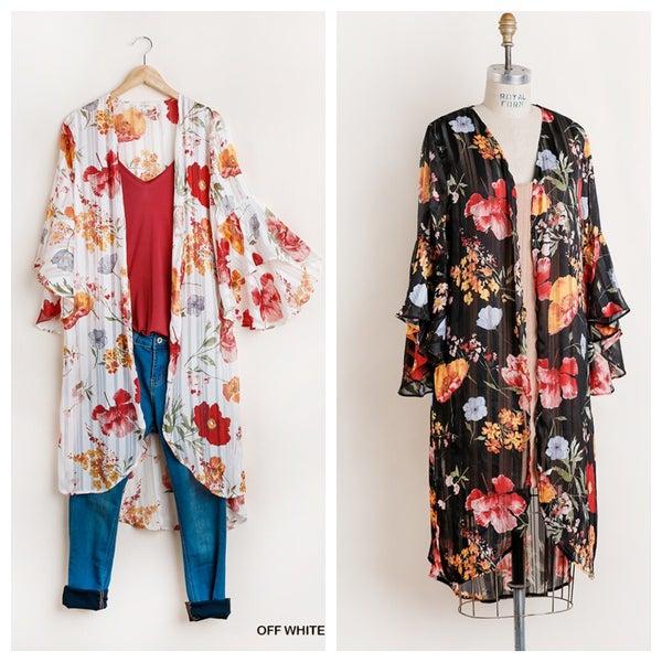 Floral Print Sheer Kimono