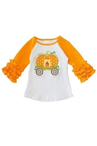 Pumpkin cargo applique raglan shirt