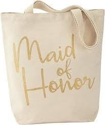 """MUDPIE """"MAID OF HONOR"""" CANVAS TOTE"""