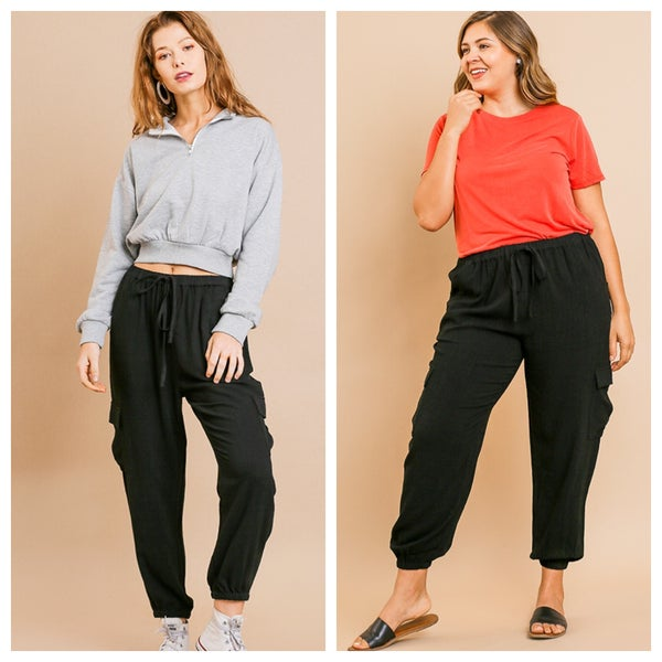 High Waist Jogger Pants with Elastic Drawstring Waist and Side Cargo Pockets