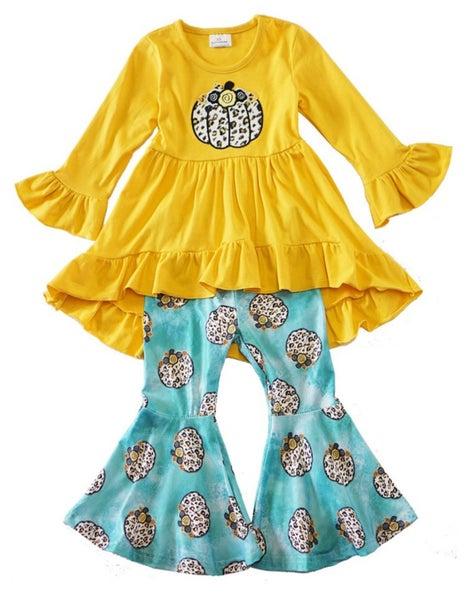 leopard pumpkin high low tunic bell pants set