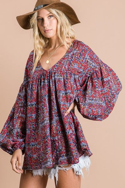Cotton Floral Print Puff Sleeves v Neck Top