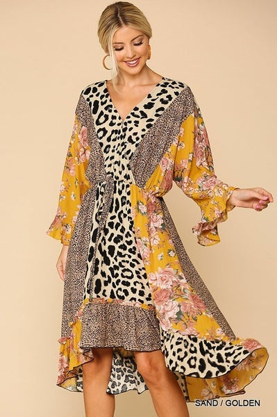 LEOPARD AND FLORAL DRESS