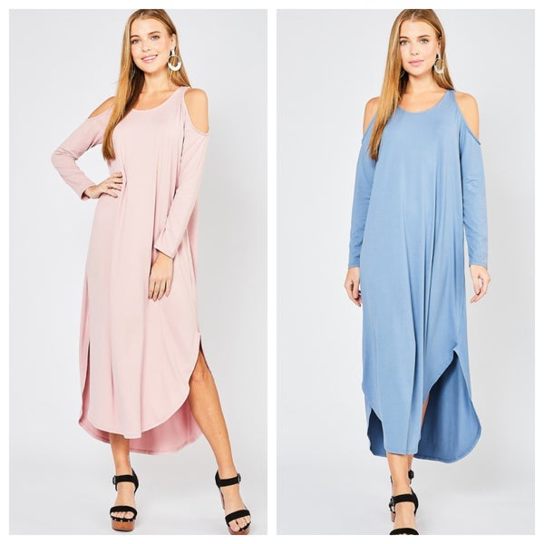 COLD SHOULDER MAXI DRESS (2 COLORS)